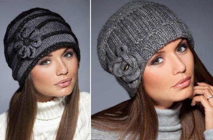 вязаные шапки для женщин 50 лет фото шикарных зимних моделей Sam
